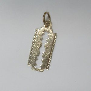 10k solid gold razor blade charm pendant